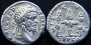 Монета с изображением Семптимия Севера и штандартов Legio V Macedonica