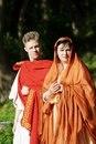 Молодожены на обряде римской свадьбы, античный