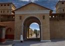 Porta Romana/View from the Decumanus Close view of Porta Romana seen seen