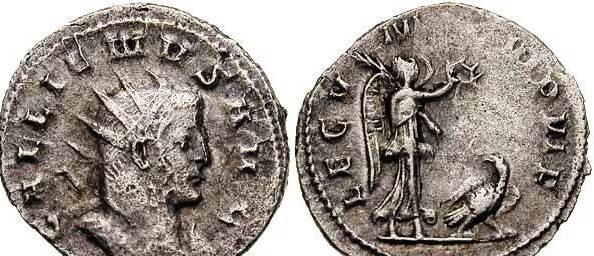 Монета выпущена в период правления Галлилена в честь Legio V Macedonica, чей символ орёл, увенчанный богиней Никой.