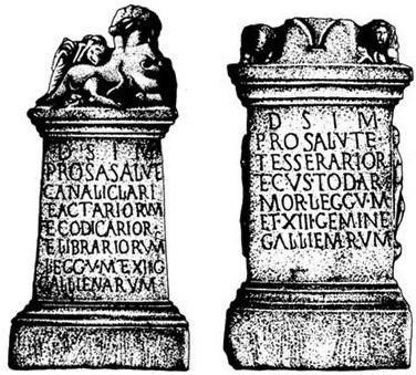 Алтари, поставленные в митреуме Петовиона (современный Птуй) в Верхней Паннонии военнослужащими Legio V Macedonia и Legio XIII Gemina в период правления императора Галла